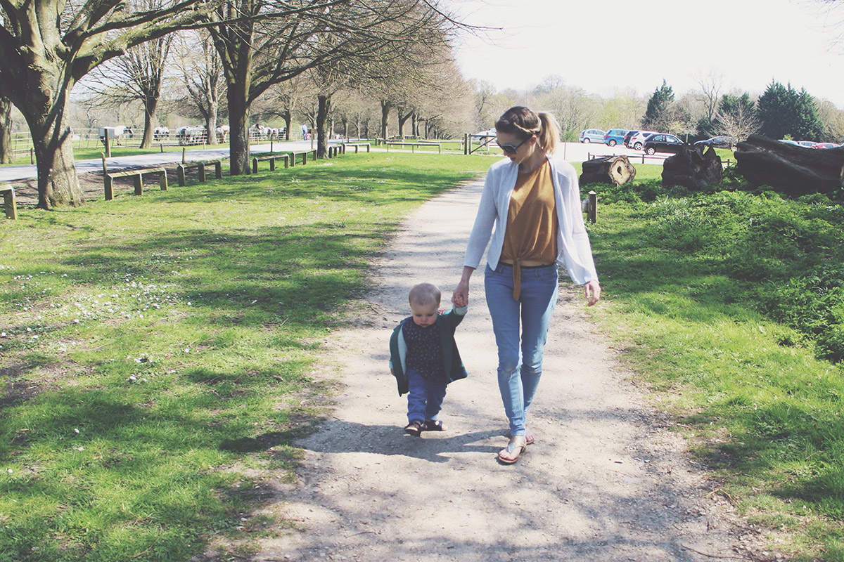 Picture Vomit - My Favourite Photos Of The Month; Mother and toddler holding hands walking through woodland at Lydiard Park