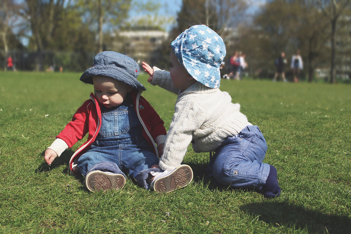 Picture Vomit - My Favourite Photos Of The Month; Two baby cousins interacting with each other, playing at the park