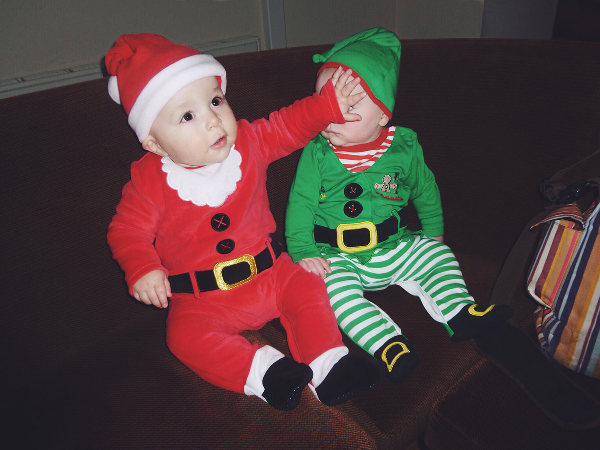 Santa Archie with elf cousin Aiden