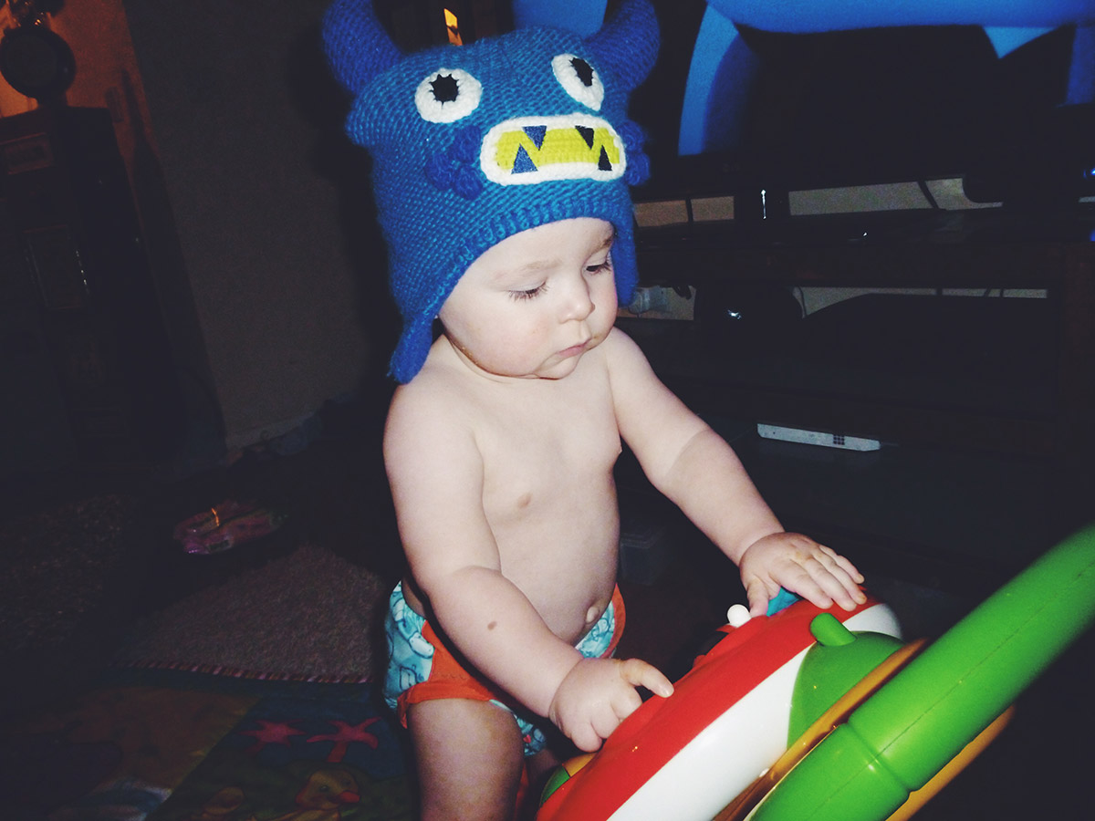 Baby Archie in monster hat