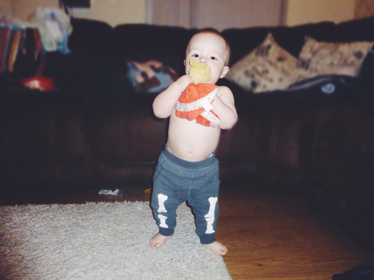 13 month old baby wearing Zara bone leggings