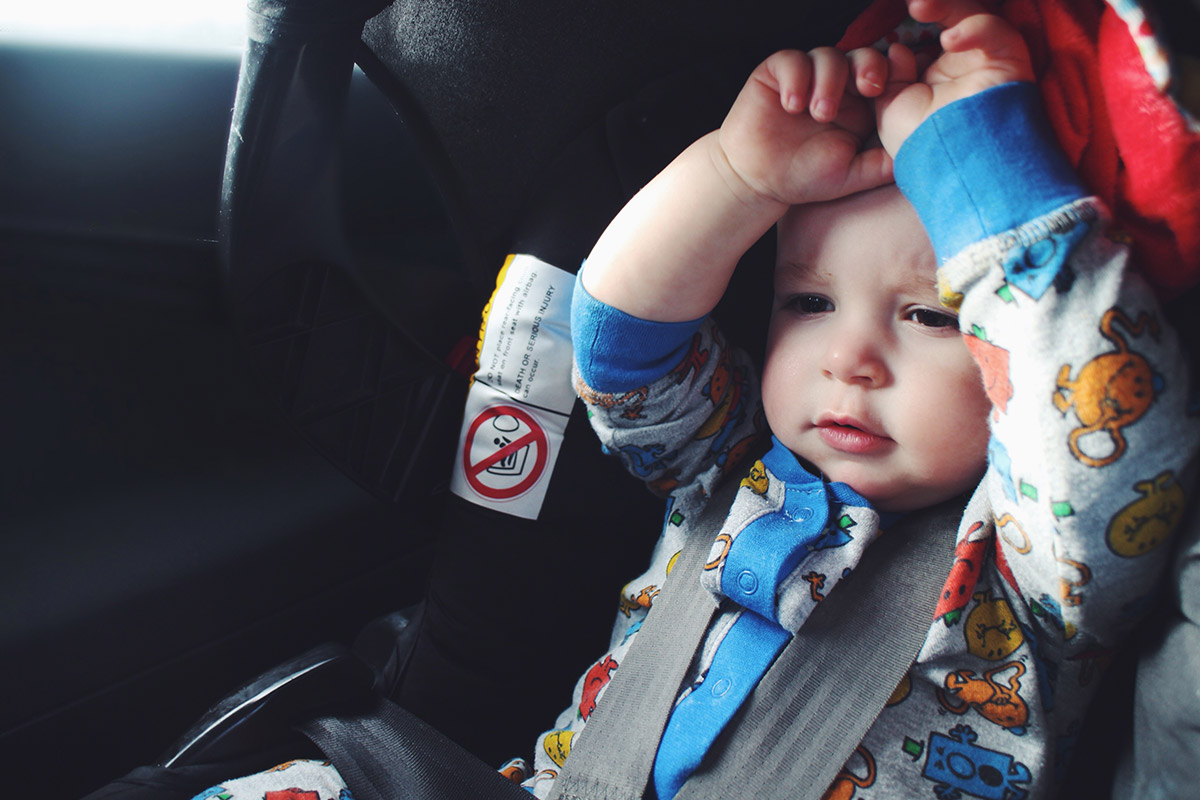14 month old baby in rearward facing car seat