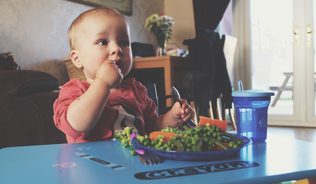 18 Months Old And Growing Up Fast - Toddler eating vegetables at table with spoon and fork