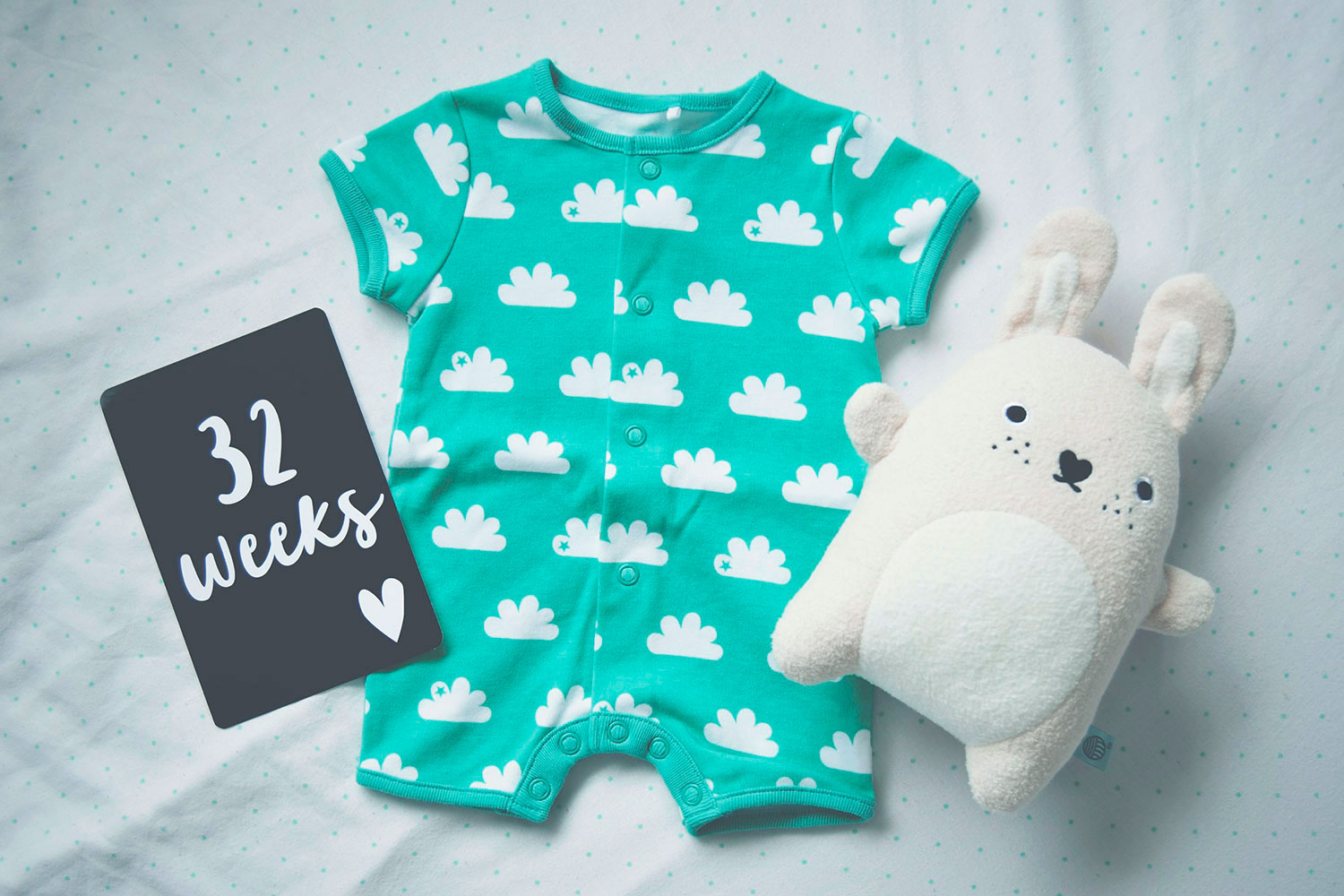 Pregnancy #2; 32 week update including bump shots, Leni and Co milestone cards, maternity bump shots taken on a Nikon D3300 and Next green cloud short romper with white rabbit noodoll