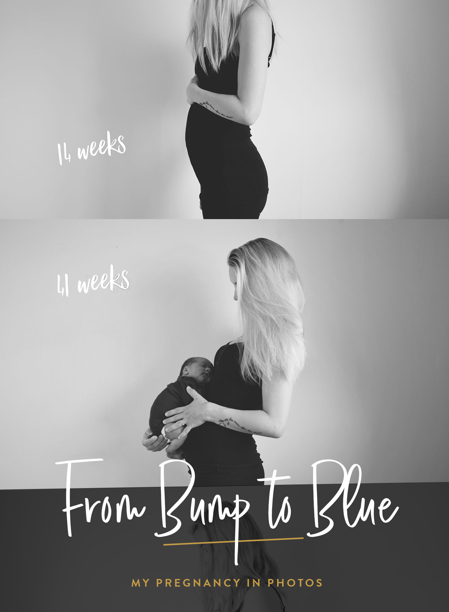 This pregnancy, I was determined to take weekly bump shots so I could put them all together at the end and see the beautiful (and totally gross at times) journey we took up to the birth of Jesse Blue.