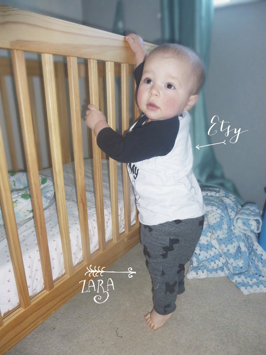 12 month old wearing 'I am this many' top and Zara cross leggings