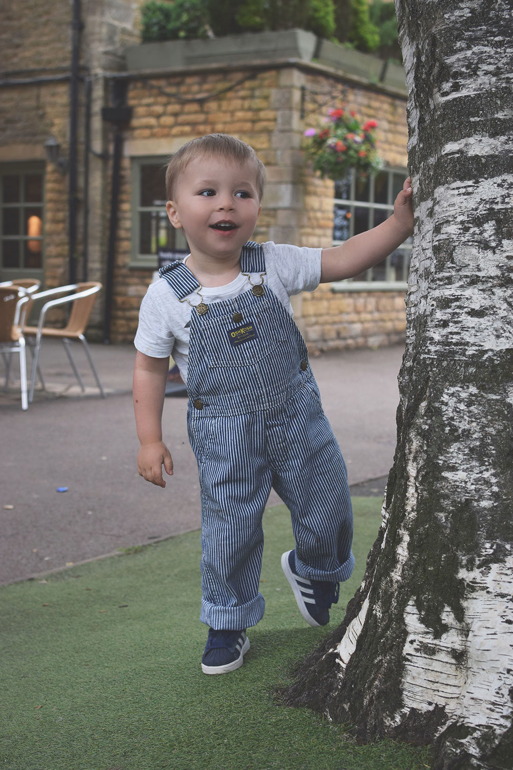 Fashion Friday; That Daring Young Man in the Blue Dungarees  // 043 - Toddler wearing Osh Kosh B'Gosh blue stripy vintage 1990's dungarees, H&M 'ledge' baseball cap, F&F chunky knit cardigan and ADDIDAS blue hard shell trainers