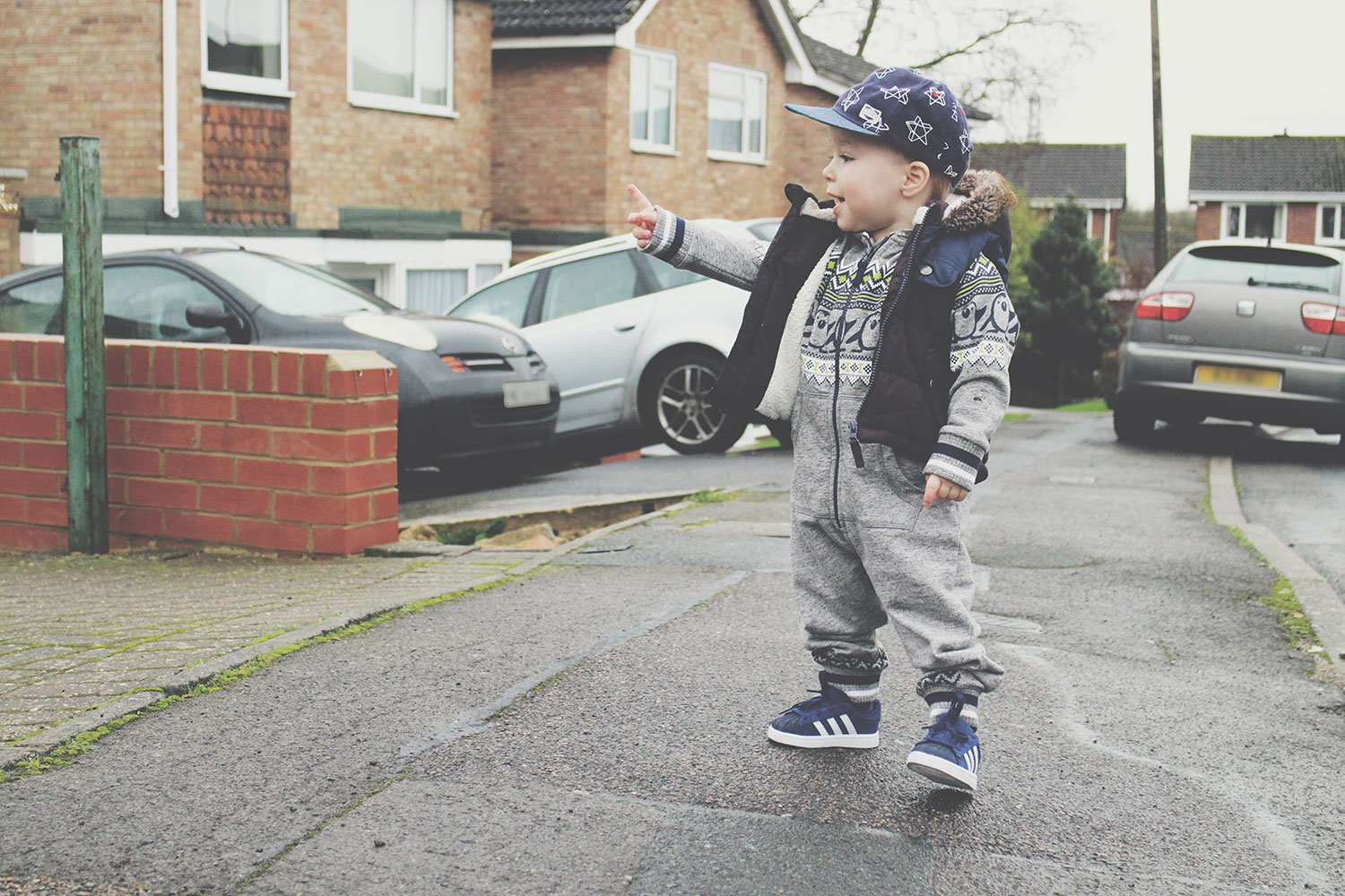 The Toddler and the Kitty - Fashion Friday is finally back! - Toddler wearing George oneside, Next gilet, Adidas shell trainers and Next baseball cap