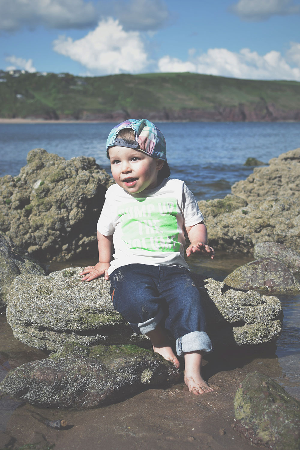 Fashion Friday; Drawing pictures in the sand for you // 041 - Toddler wearing H&M tartan baseball cap, pump up the volume luminous green t-shirt and Gap UK jeans