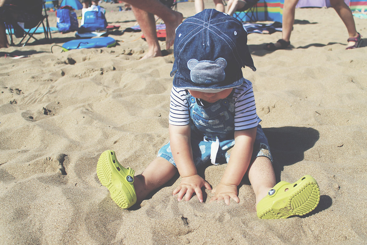 Fashion Friday; The Boys of Summer // 029 - Toddler wearing M&Co stripy t-shirt with pineapple denim dungarees and lime green Croc's