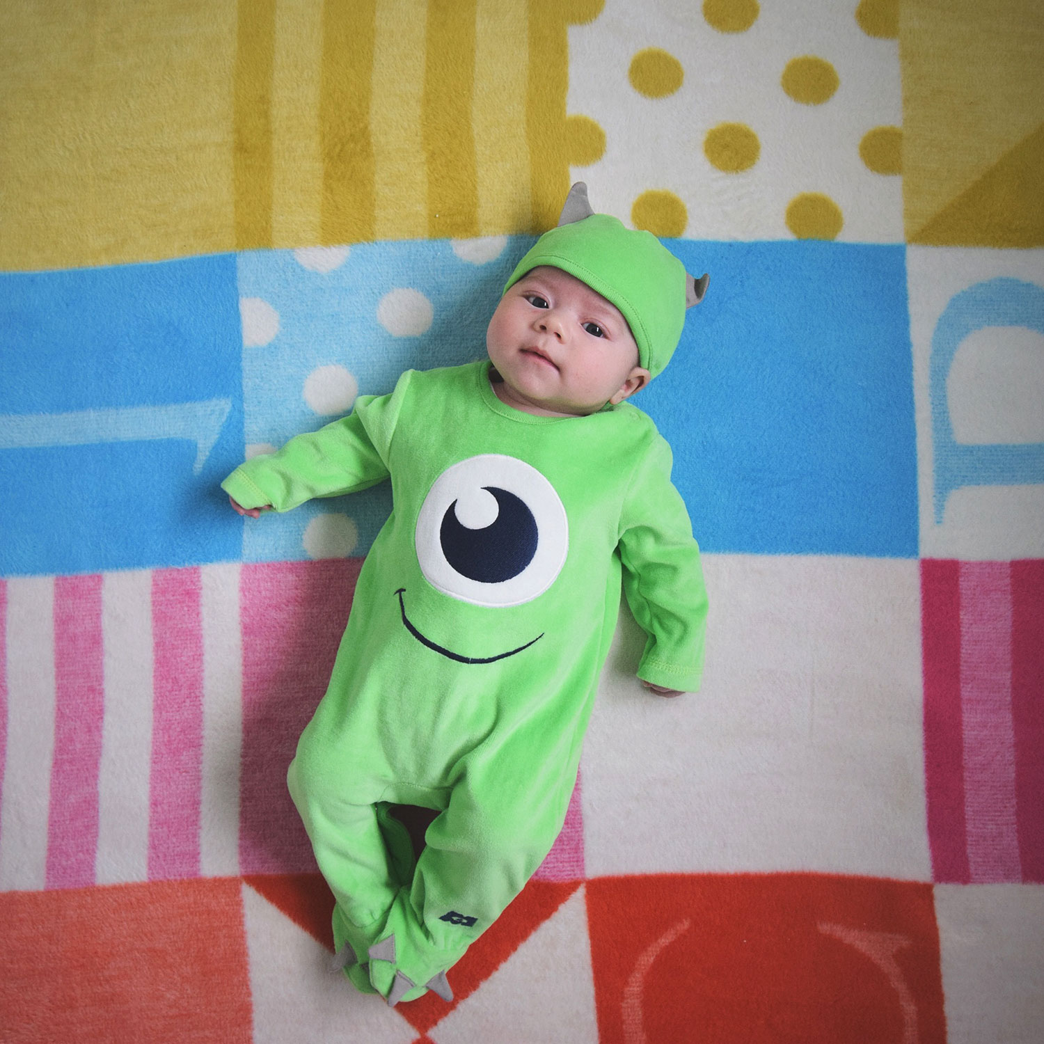 Fashion Friday; We Scare Because We Care // 044 - Toddler and newborn baby boy brothers/siblings dressed up in fancy dress for Halloween as Sully and Mike Wazowski/Mikey from Monsters Inc, ASDA George outfits