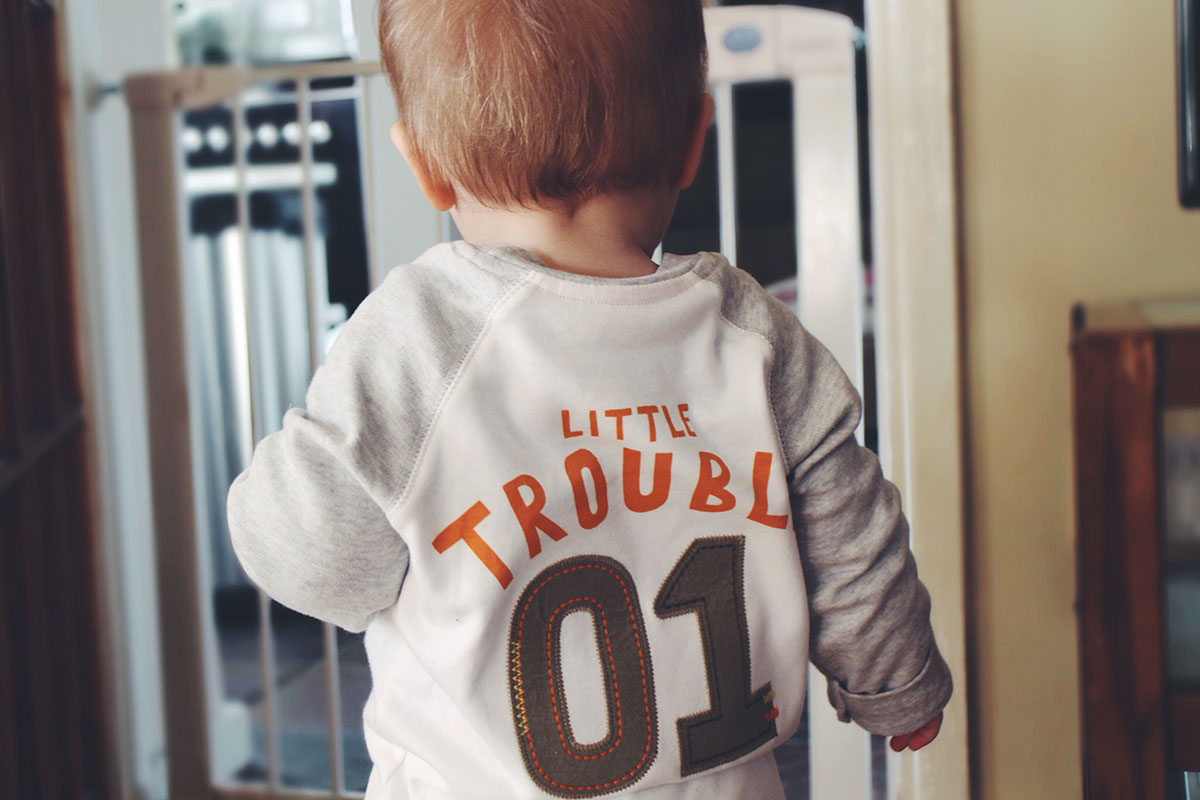 14 month old toddler wearing George Tazmanian Devil raglan top slogan 'Little Trouble'