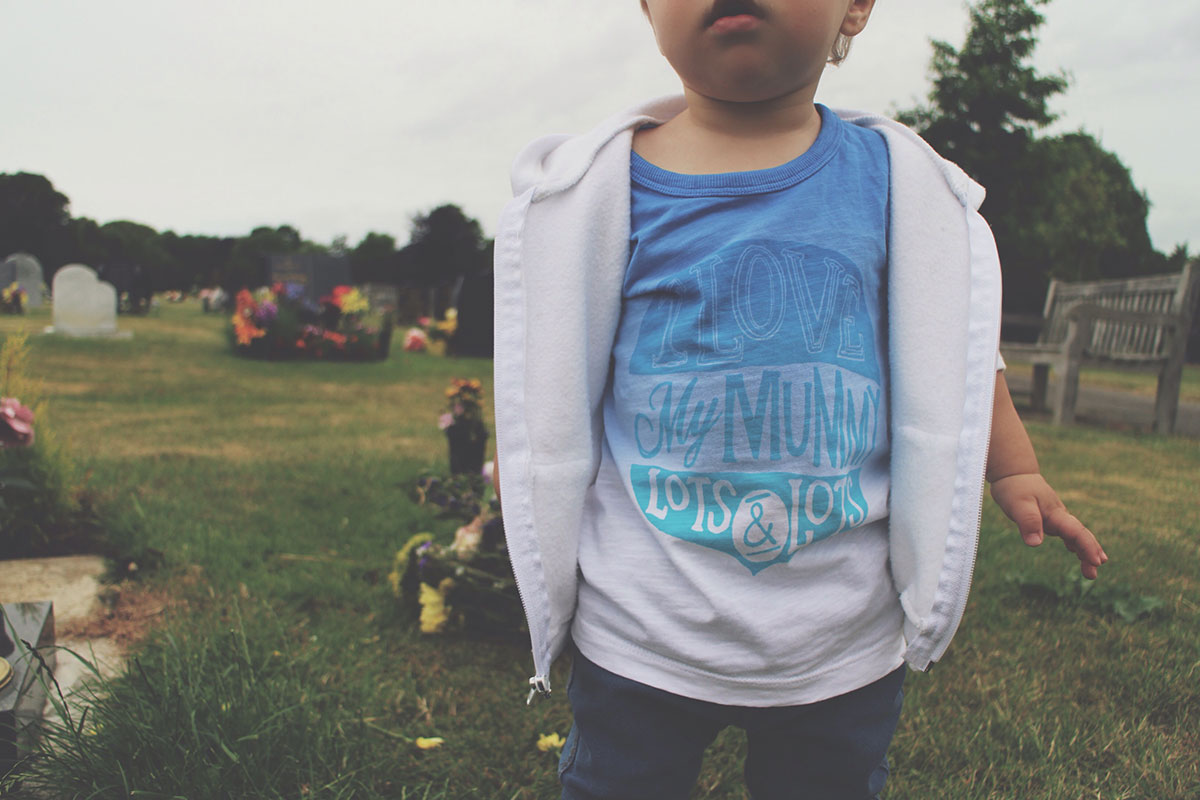 Fashion Friday // 026; Be Like The Cool Kids - Toddler wearing Next 'I Love My Mummy' t-shirt, H&M jeans/jeggings, Adidas trainers and white american apparel hoody at the cemetery visiting Uncle Connor