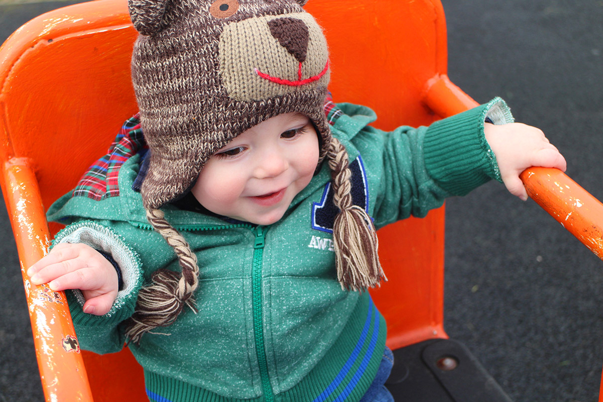 13 month old baby wearing Ladybird hoody
