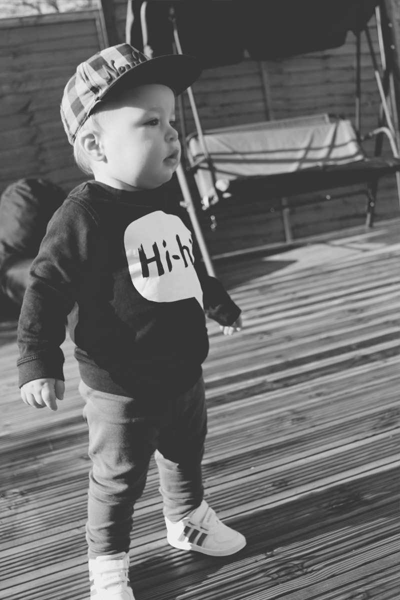 Fashion Friday #18: Toddler wearing H&M 'Hi-Hi' jumper, leggings, New York hat and Adidas trainers