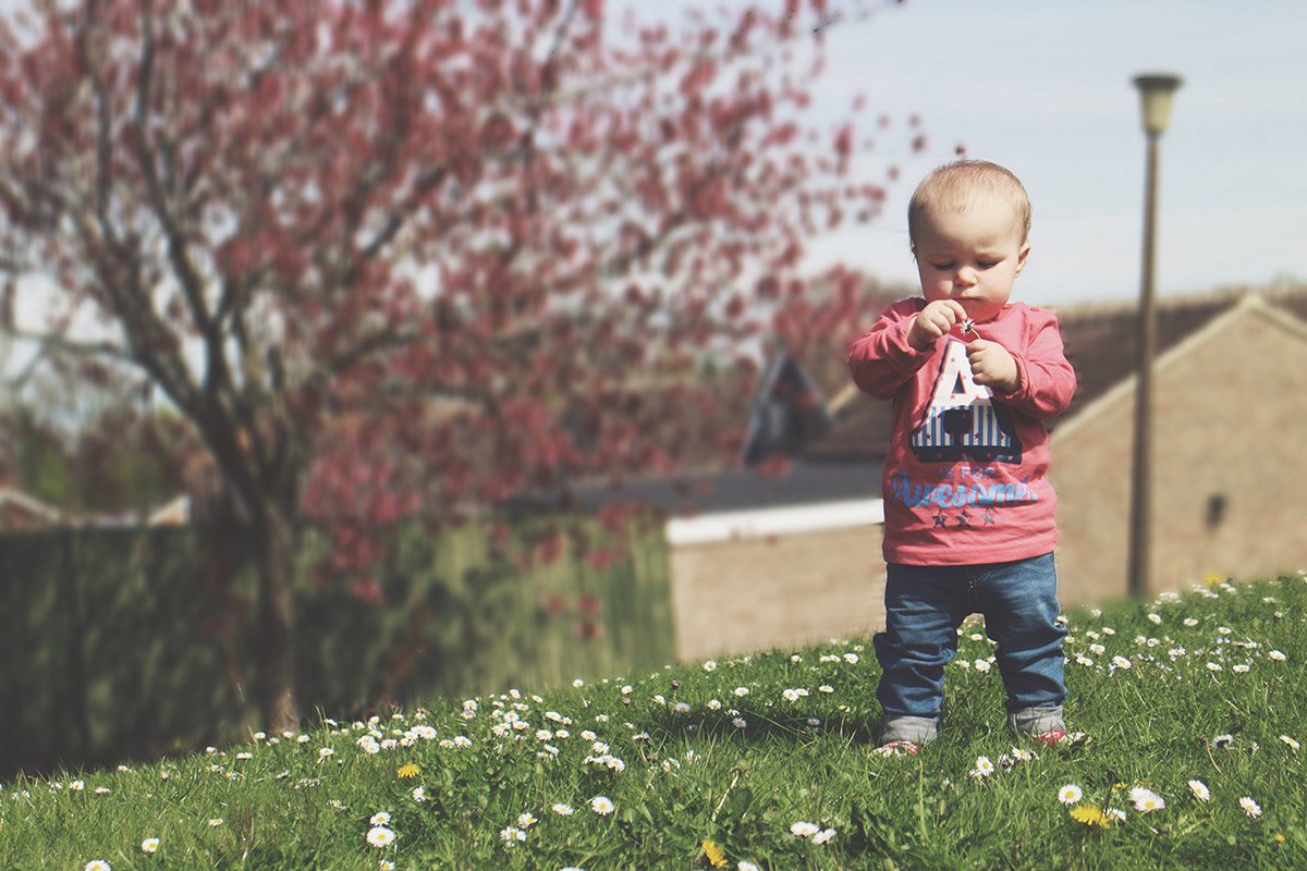 Toddler playing with daisies on the field wearing MandCo t-shirt and H&M jeggings