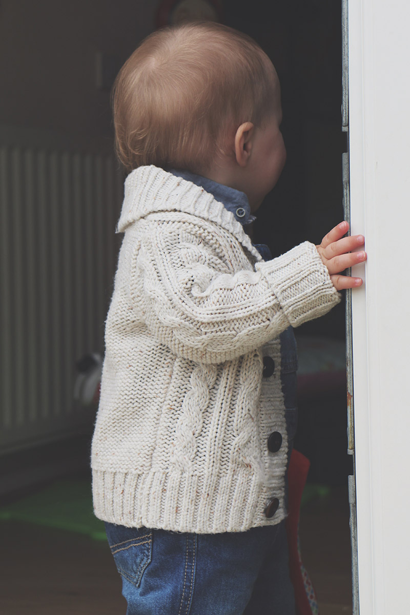 Fashion Friday #18: Toddler wearing Primark chunky knit cardigan, Next dungarees and George t-shirt