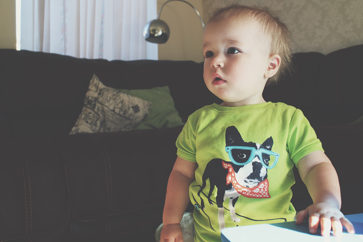 Fashion Friday // 022; Toddler wearing green and blue stripy dog Gap pyjamas indoors