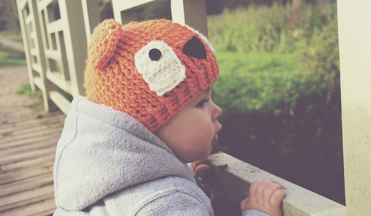 He Looks Like Autumn - Fashion Friday ft. Bits & Bobbles - Toddler wearing grey George duffle coat, Zara leggings and Bits & Bobbles handmade crochet hat