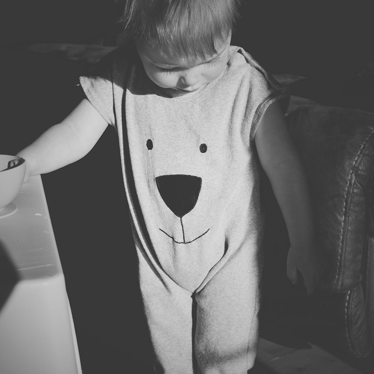 Fashion Friday; Let Me Be Your Teddy Bear // 039 - Toddler wearing baby bear face grey short-sleeved romper, off the shoulder look for weekend tots style
