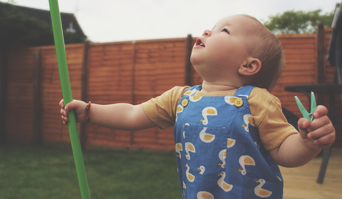Fashion Friday // 021; Toddler wearing Frugi duck and yellow duck dungarees with Next t-shirt and sandals
