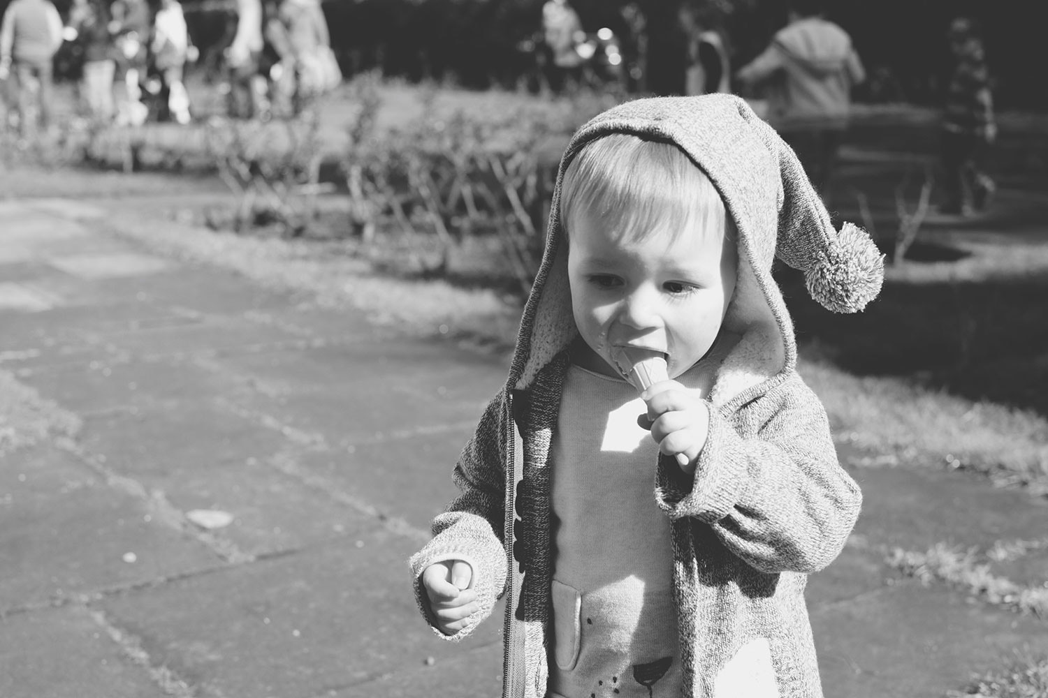 Fashion [Good] Friday; Sprinkles & Sunshine - Toddler wearing H&M cardigan, Next jumper, Gap jeans and George Cars boots, running around the park eating ice-cream Easter