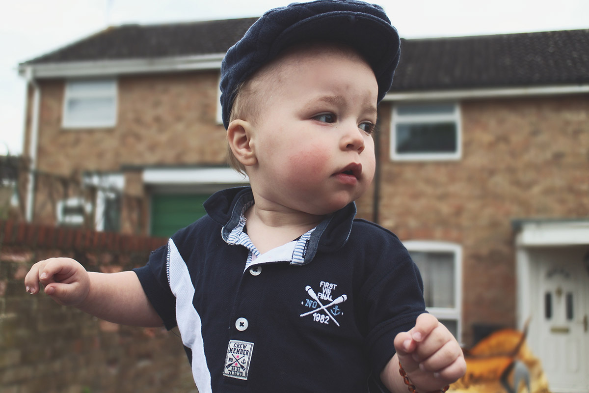 Fashion Friday // 019; Toddler wearing George grandad cap and Next rugby shirt and trousers