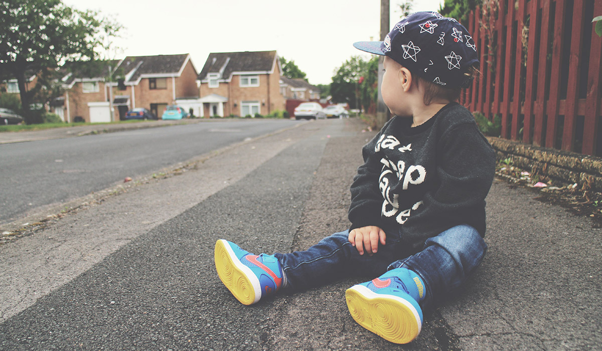 Fashion Friday; Eat, Sleep, Play, Repeat // 030 - Toddler wearing Nike Air Max blue/pink trainers, Next jeggings and starry baseball cap and H&M 'Eat, Sleep, Play, Repeat' slogan black jumper