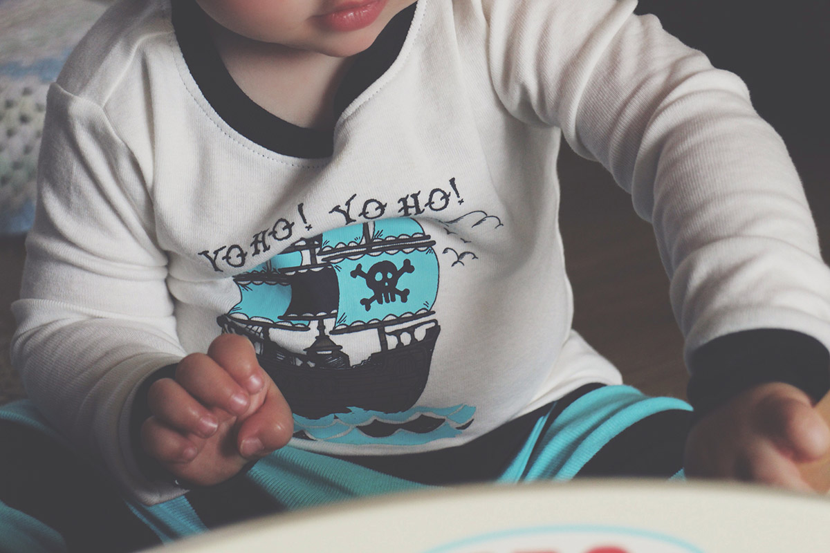 Fashion Friday // 027; Not All Treasure is Silver & Gold - Toddler wearing stripy blue pirate Baby Gap pyjamas for Fashion Friday