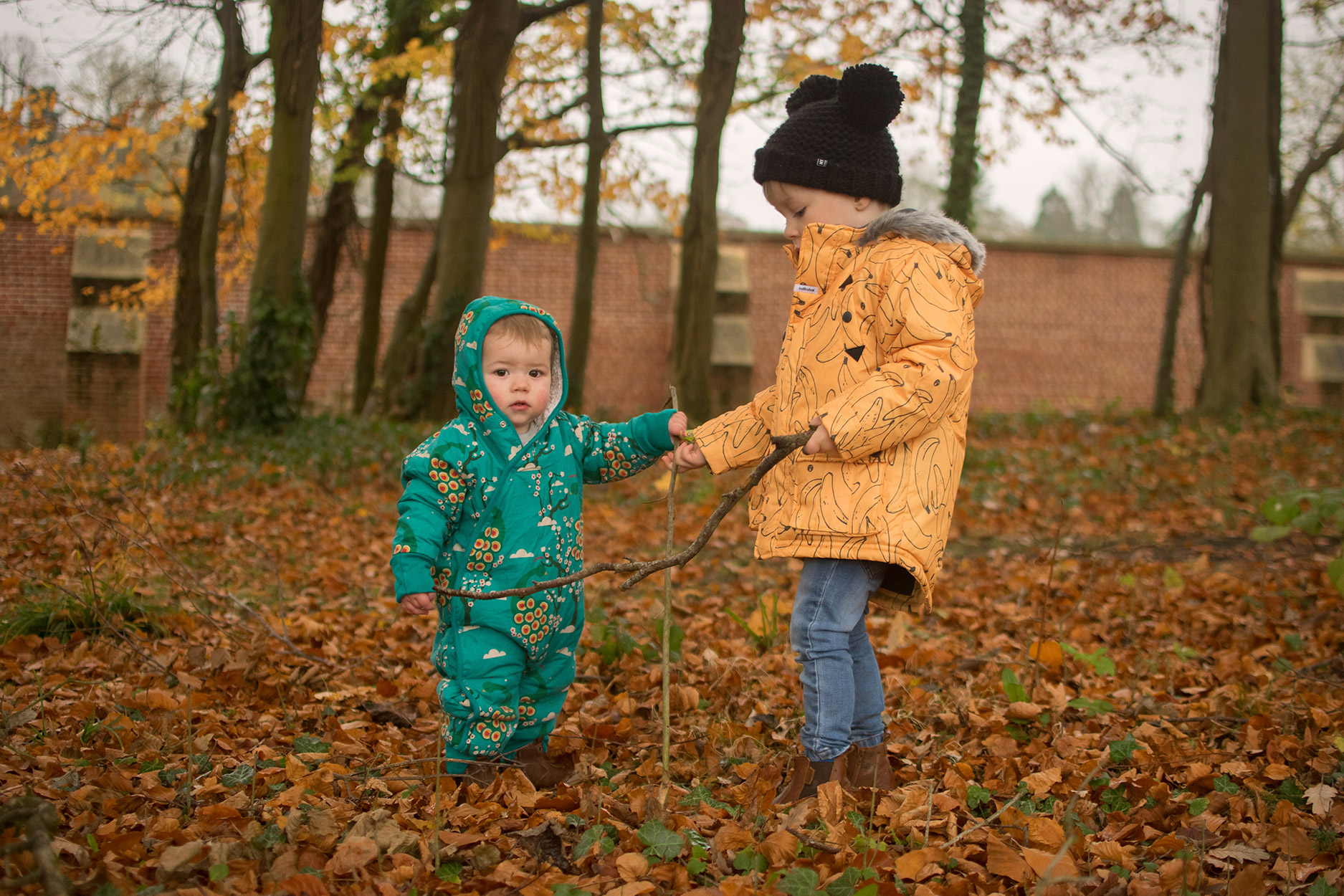 Two young brothers enjoying a day out in the woods playing and picking sticks wearing Little Green Radicals midnight peacocks snowsuit and Indikidual banana print coat with Bobux iWalk brown outback boots