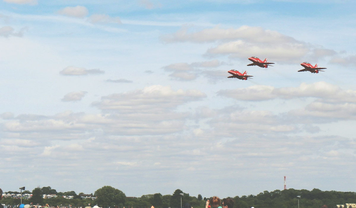 Toddlers' Day Out @ RAF Fairford Air Tattoo - Red Arrows flying over making a display in the sky