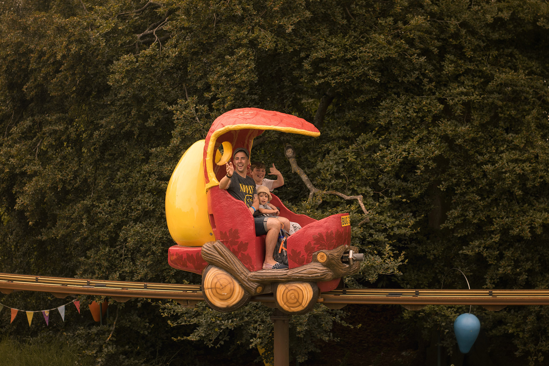Family of five including three boys spending the day at Alton Towers, CBeebies Land on the Go-Jetters Treetop ride