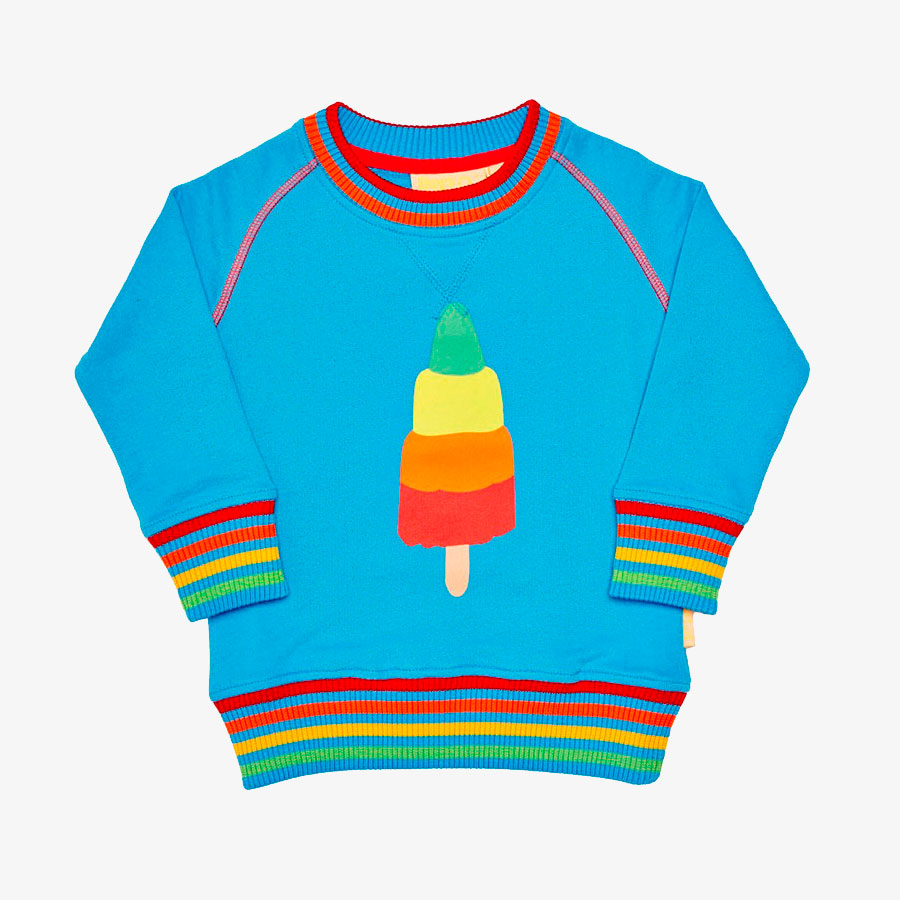 Remy Roo rainbow multi-coloured rocket ice lolly jumper for babies