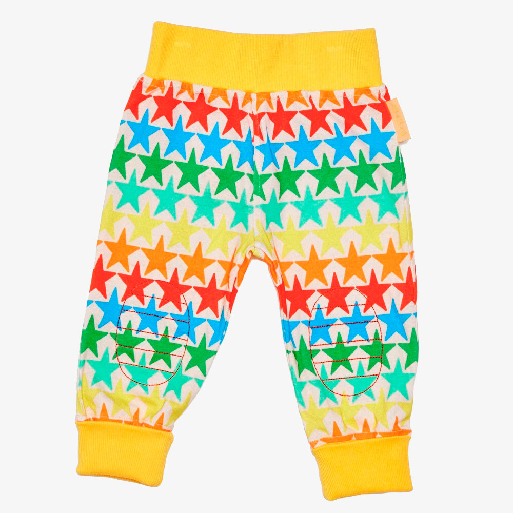 Remy Roo yellow rainbow starred baby leggings