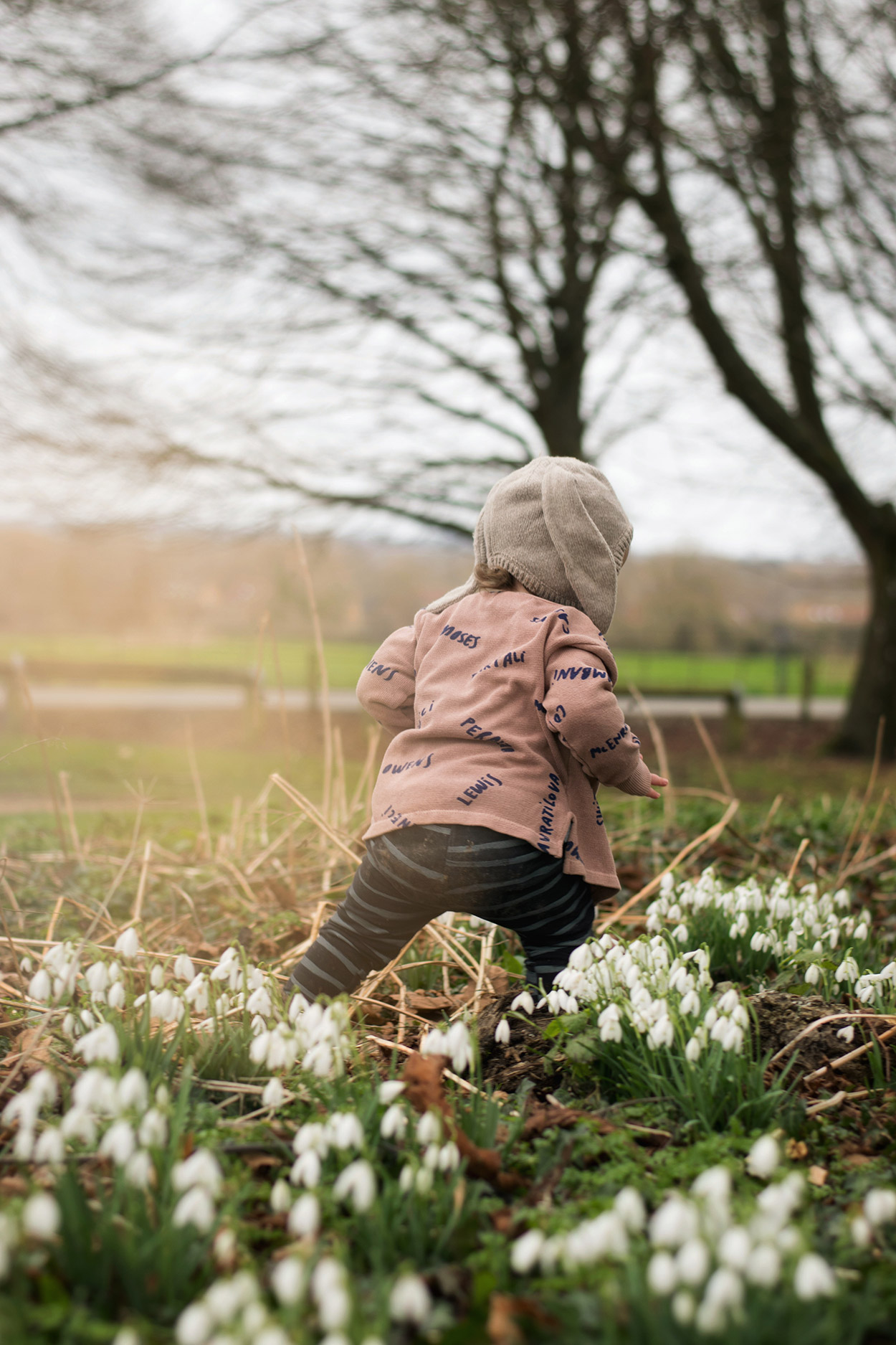 18 month old baby boy walking amongst the snowdrops and woodlands playing outdoors wearing Bobo Choses cardigan, Smafolk panda top and H&M bunny hat