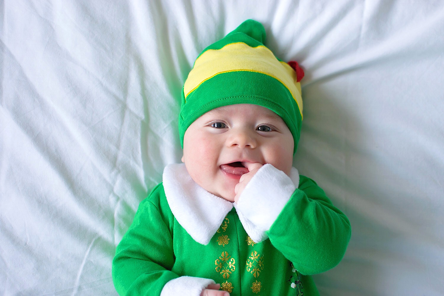 Baby Jesse Blue at 4 months old - Newborn baby boy dressed in ASDA George elf movie outfit for Christmas festivities