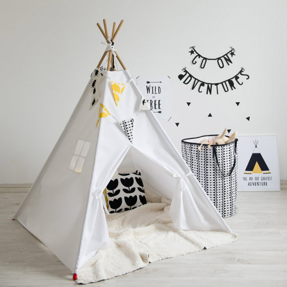 White, Yellow & Black Teepee - It's For Kids on Etsy