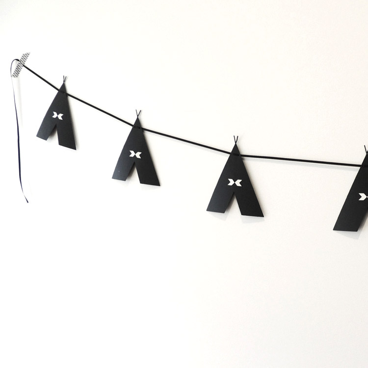 Black Teepee Garland - Taly & Co Kids Interior
