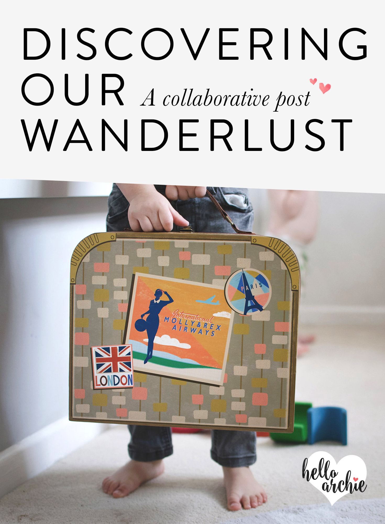 Young children playing with vintage suitcase and passports pretending they're packing for a holiday
