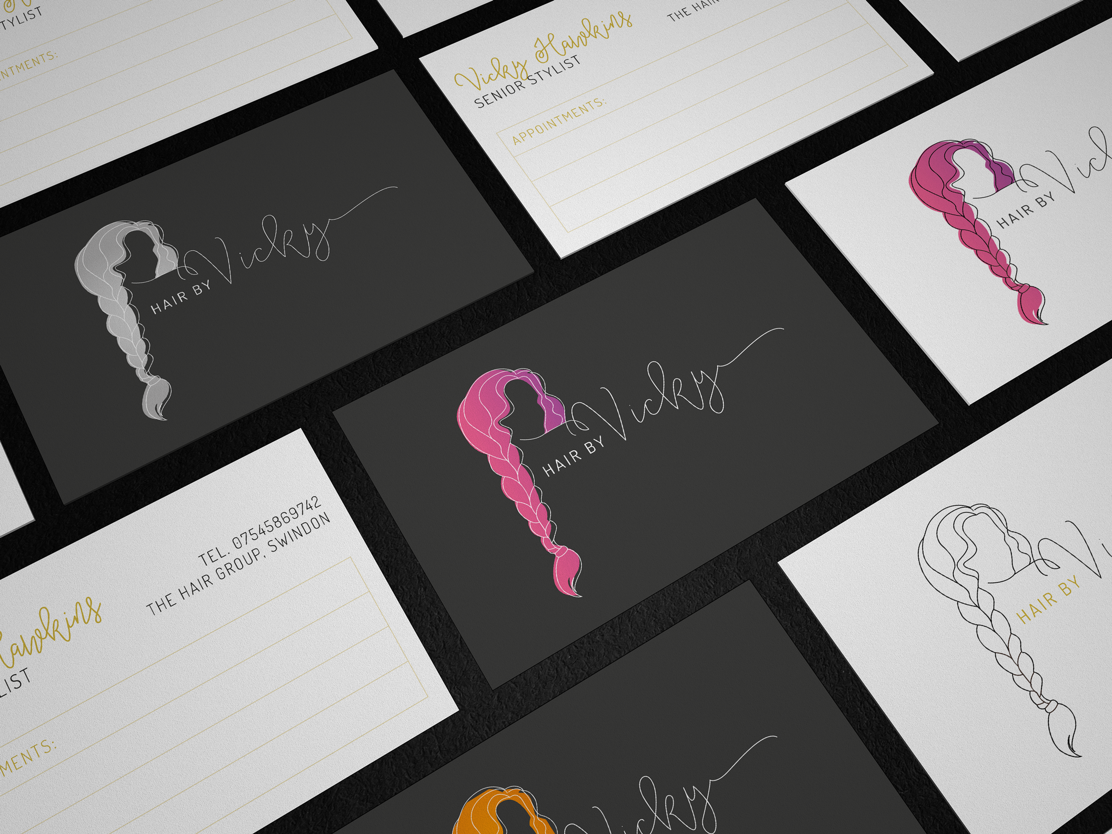 Business cards for self-employed hairdresser, Hair by Vicky - designed by Wiltshire-based graphic designer, Kaye Huett