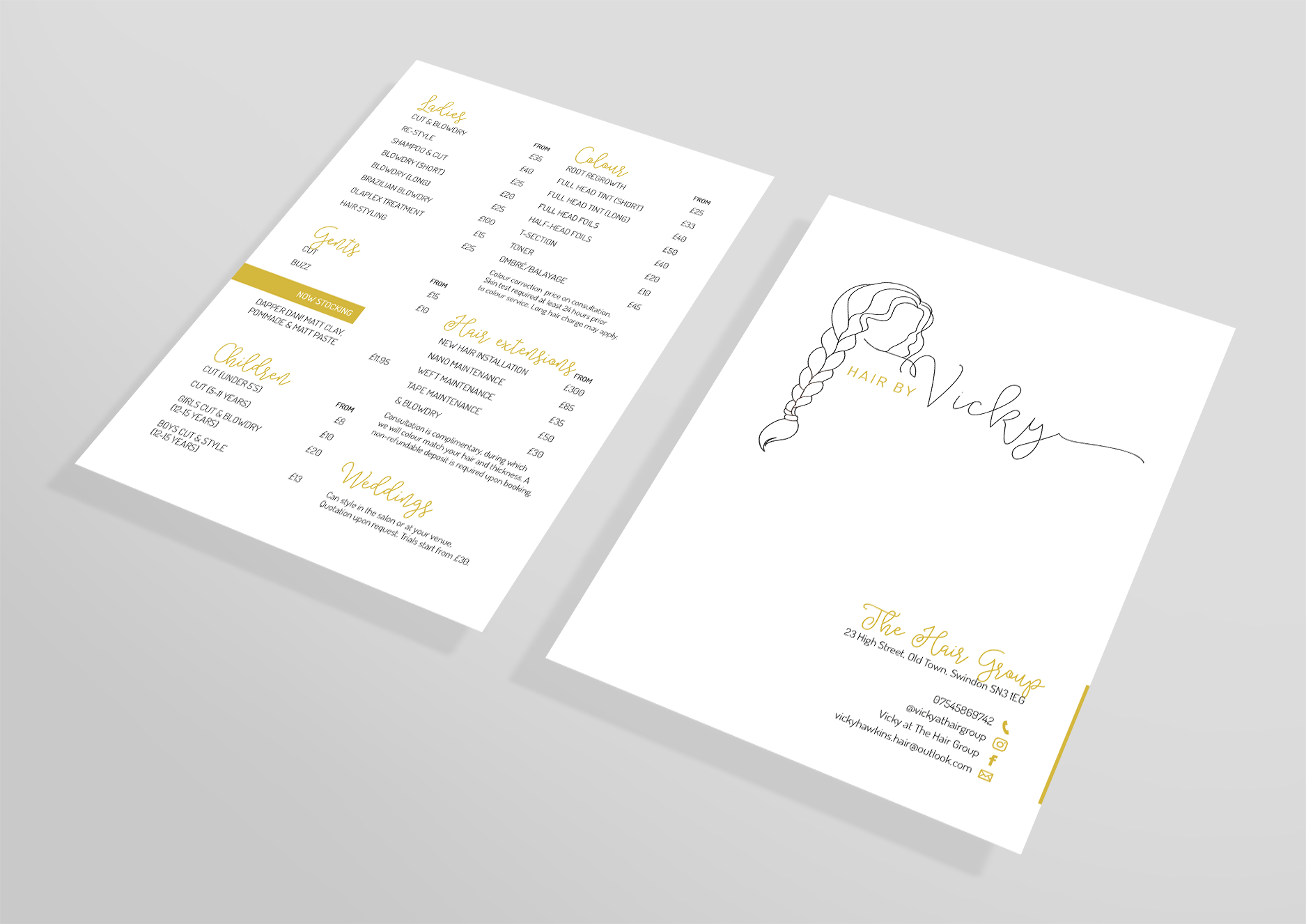 Price Lists for self-employed hairdresser, Hair by Vicky - designed by Wiltshire-based graphic designer, Kaye Huett