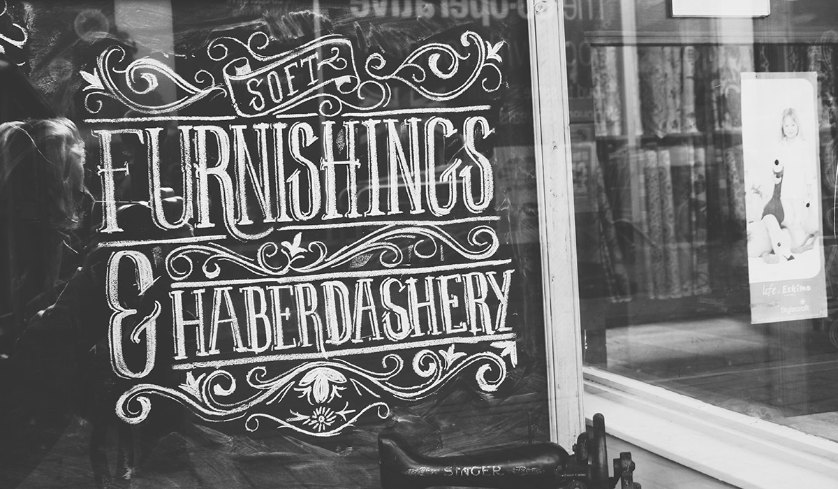 Our Devon Holiday 2015 - Beautiful chalk typography at a haberdashery in Bideford