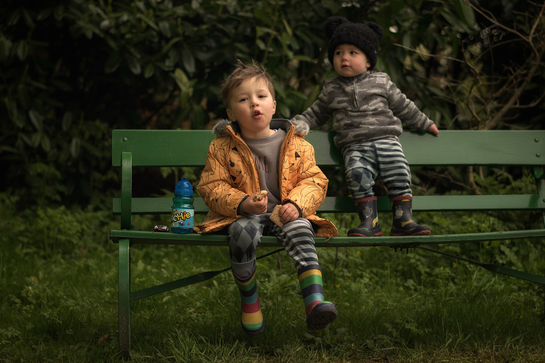 A day in the normal life of a mother with her two young sons, all photos taken on a Nikon D3300; Morning routine playing with Hot Wheels and a visit to Dyrham Park, Bath, wearing H&M carnival velour leggings, Individual banana coat and Joules wellies