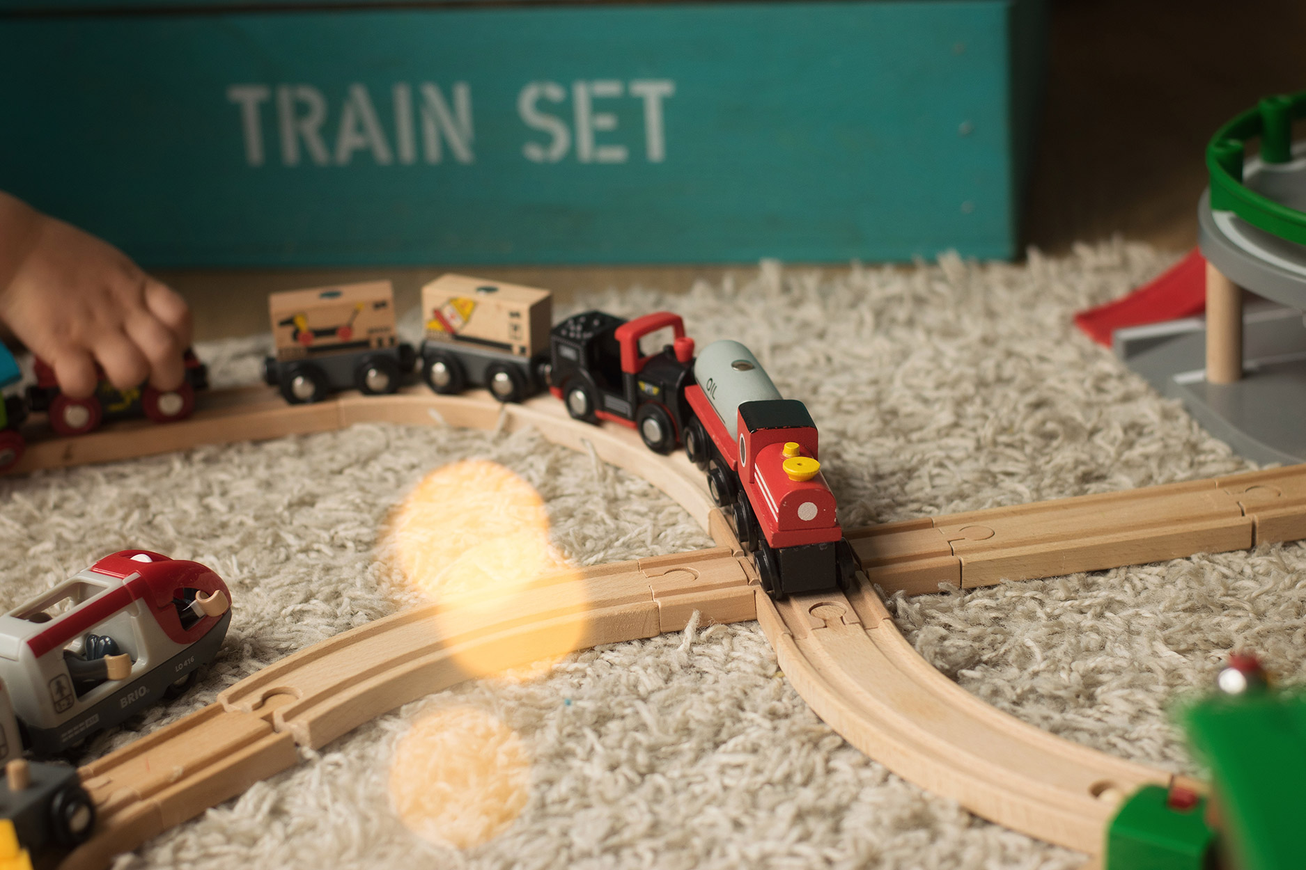 BRIO wooden railway train station - boy's playing trains in DITL