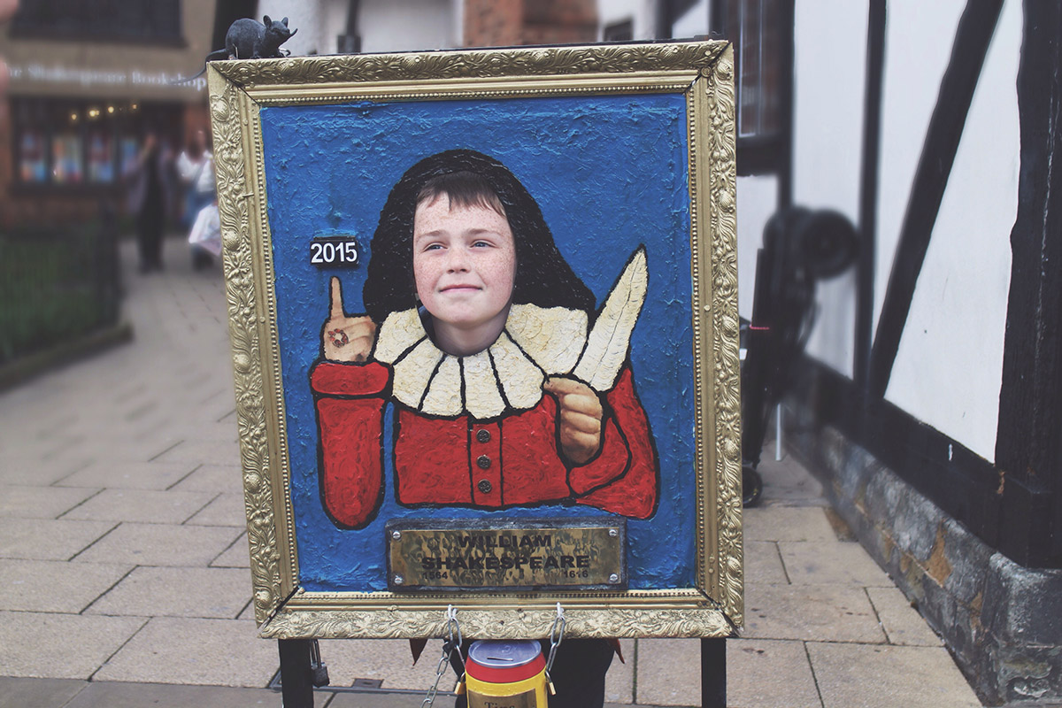 An Easter Weekend Catch-Up - Young boy with head through Shakespeare frame in Stratford-Upon-Avon