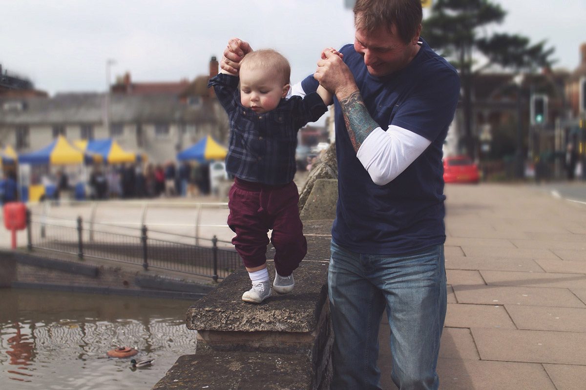 An Easter Weekend Catch-Up - Grandad walking grandson across wall of the canal at Stratford-Upon-Avon
