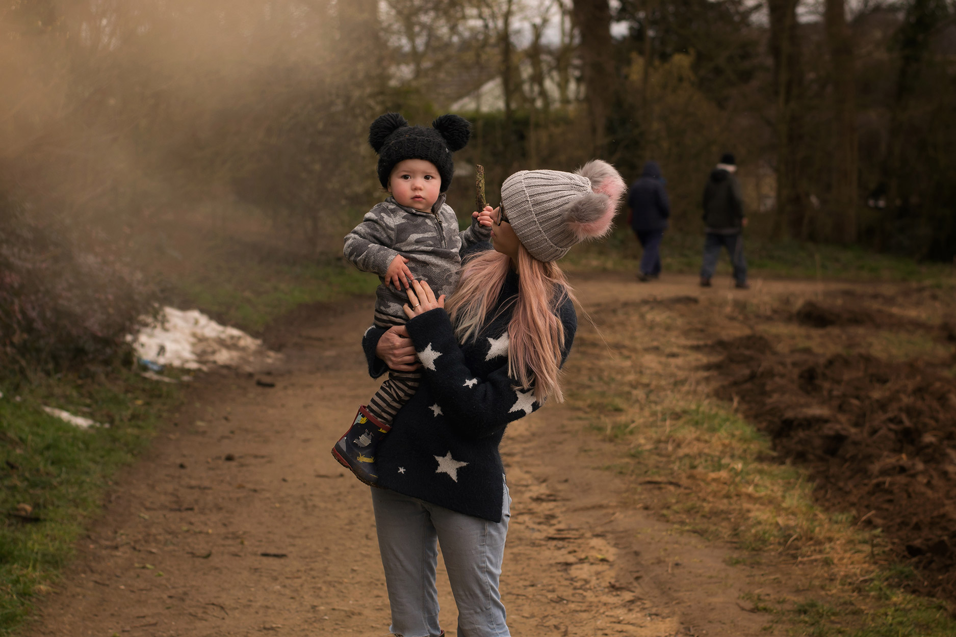 Young family, three brothers and Nanny walking in Faringdon Folly woods and tower, Oxfordshire, exploring the animals/art wearing Joules fleeces and wellies, MyK mickey knit hats and 1 + In The Family stripy harems