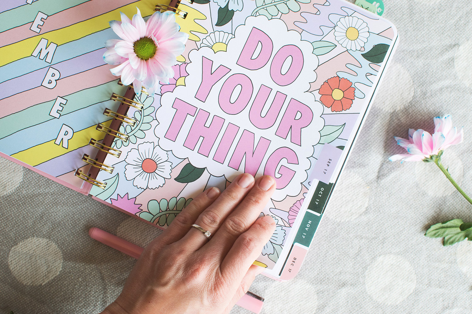 September Goals - Setting goals and aspirations for the next month. Bando 'no bad days' pink planner with stickers, highlighters and stationery