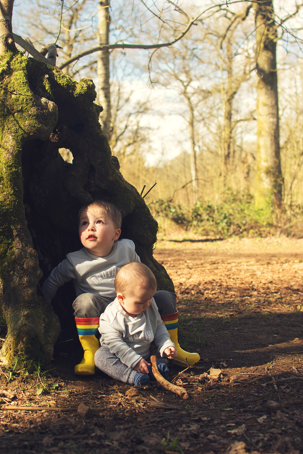 All was quiet in the deep dark wood.. - Family with two young boys visiting the Westonbirt Arboretum and going on the treetop walkway and the gruffalo trail on a beautiful Summers day wearing Bob & Blossom 'brother' tops and rainbow Little Bird wellies