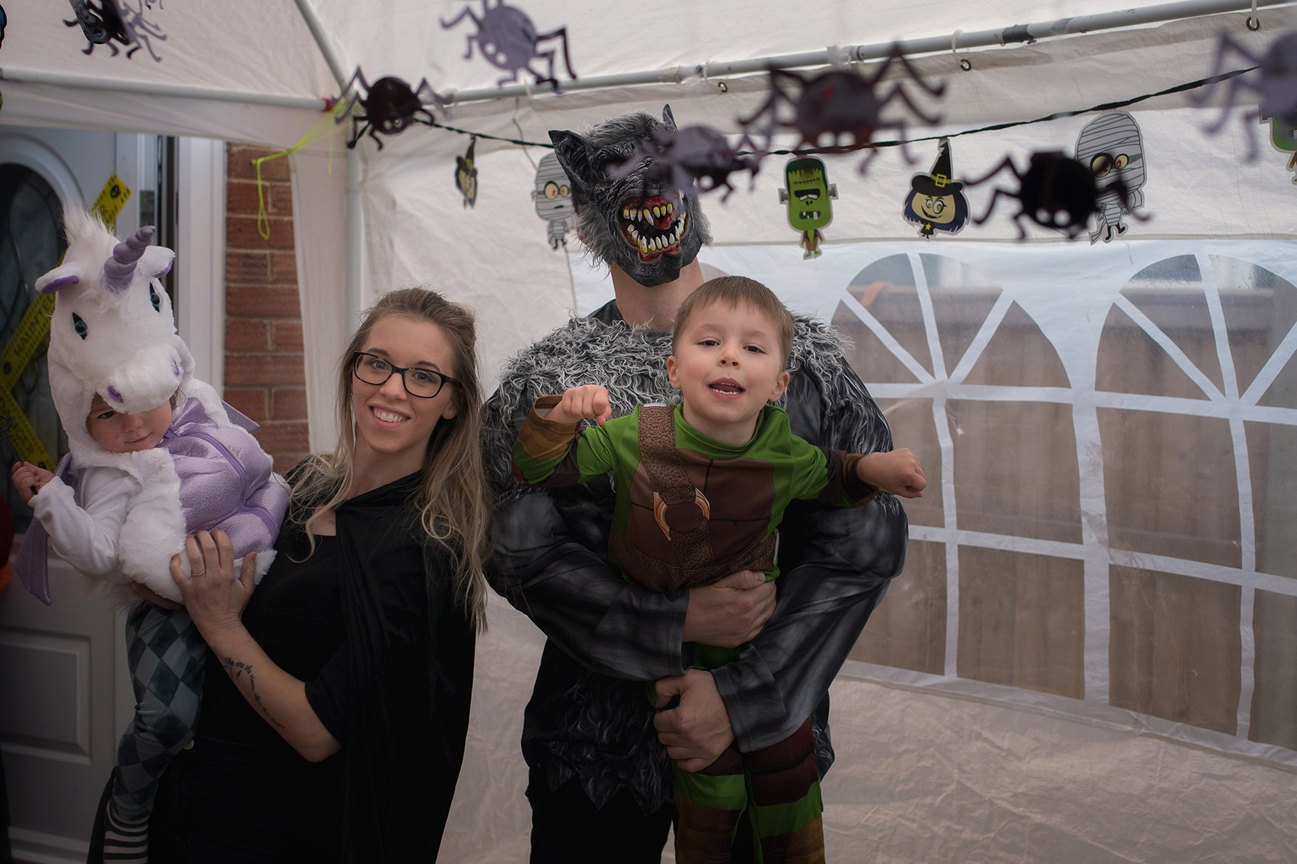 Celebrating halloween with family and werewolf uncle with Frankenstein nephew